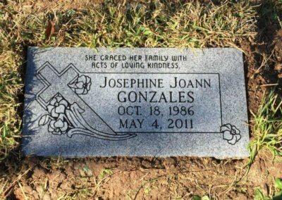 Flat Headstones or Single Grave Markers - Gonzales, Josephine