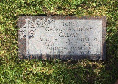 Flat Headstones or Single Grave Markers - Galvan, George