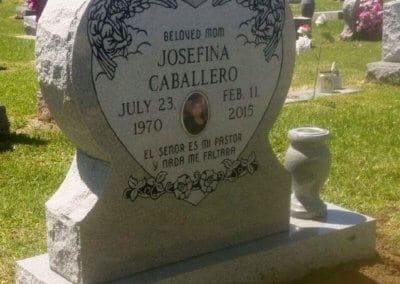 Heart Shaped Headstones and Cross Monuments - Caballero, Josefina