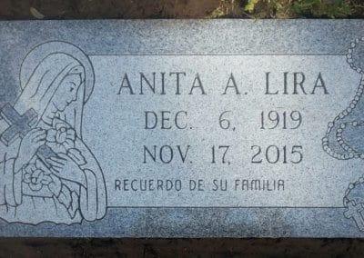 Flat Headstones or Single Grave Markers- Lira, Anita