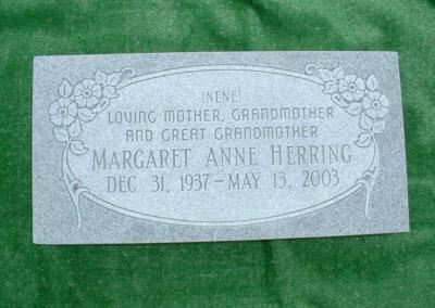 Flat Headstones or Single Grave Markers - Herring, Margaret