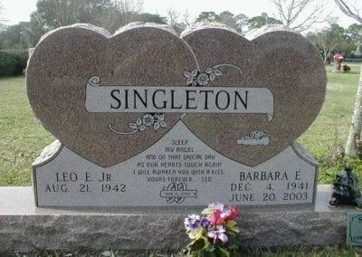 Heart Shaped Headstones and Cross Monuments - Singleton, Leo