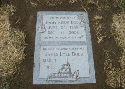 Double Deep Grave Markers / Granite Grave Markers - Dodd