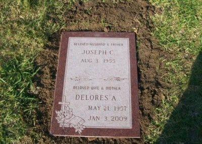 Double Deep Grave Markers / Granite Grave Markers - Joseph & Delores