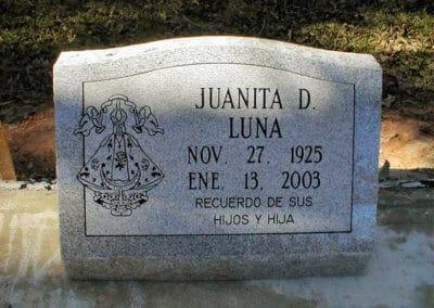 Slant Headstones and Slant Monuments - Luna