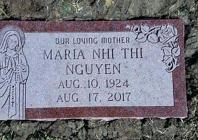 Flat Headstones or Single Grave Markers - Nguyen